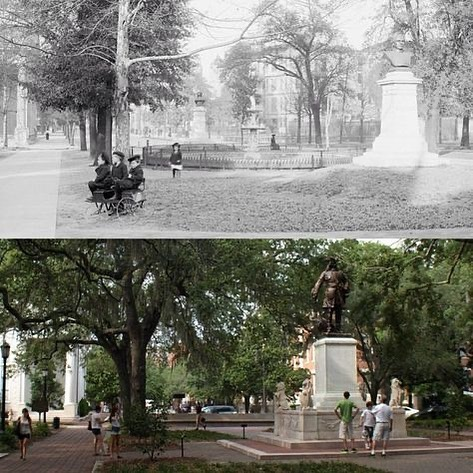 •Then and now• This is Chippewa square in 1904 and now!  Credit: agricultural Tours of Savannah  #ebrsavannah #savannahrealestate  #realesta