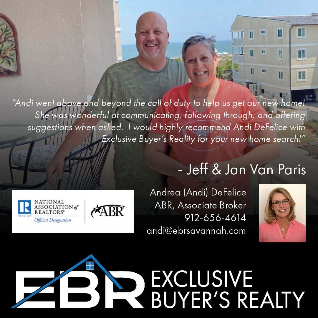"""High praise from another recent EBRSavannah client: """"Andi went above and beyond the call of duty to help us get our new home! She was wonder"""