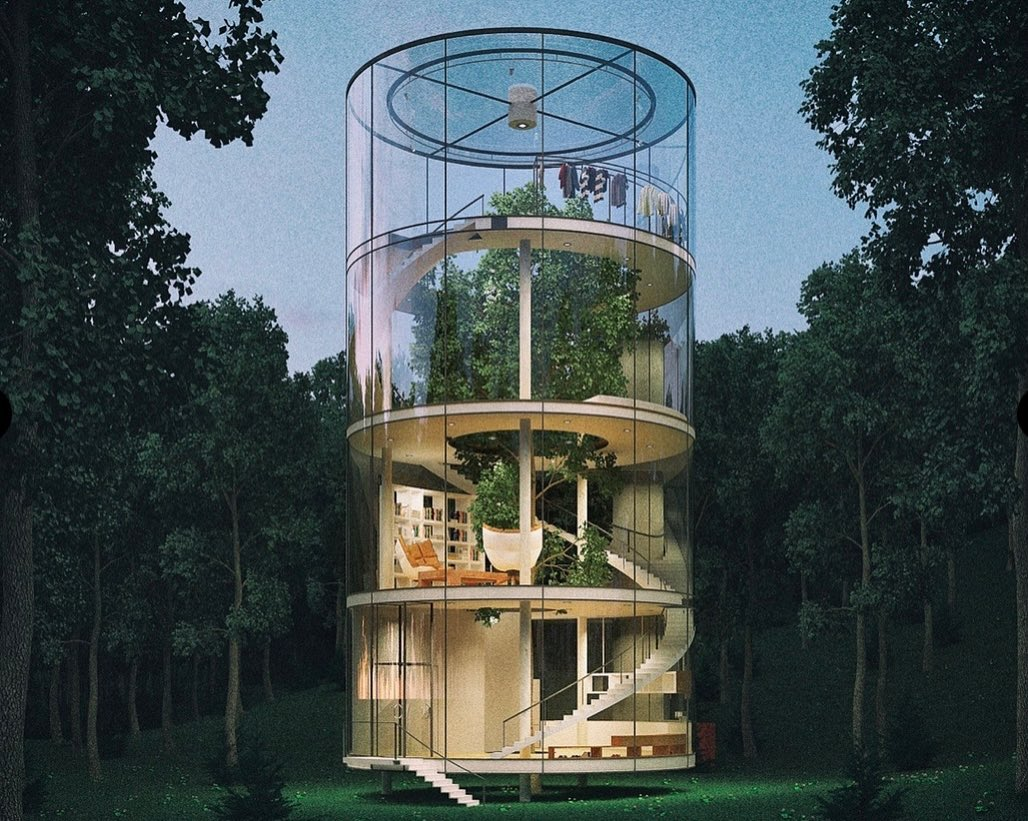 What do you think about this glass house enclosed around a mature fir tree ? Are you this close to nature ?  #ebrsavannah #savannahrealestat