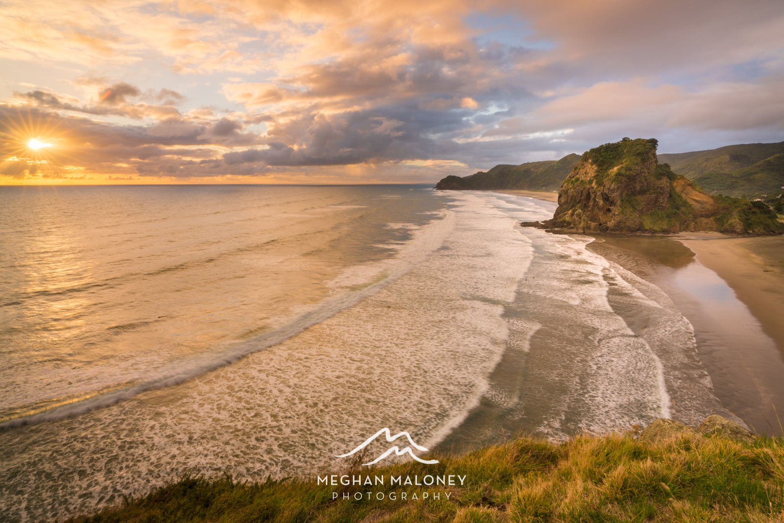 Piha Beach Golden Sunset