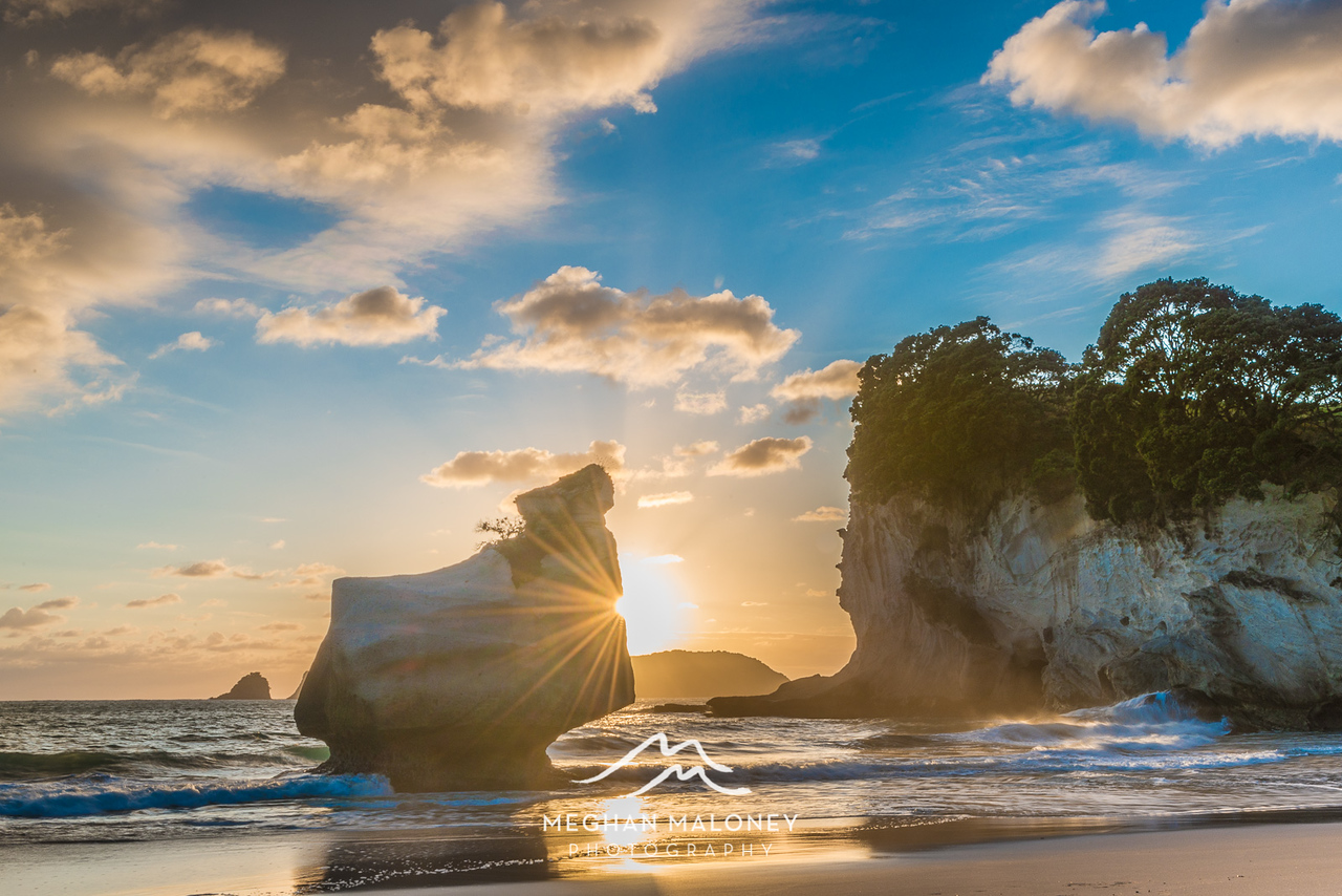 Sunflare captured at Cathedral Cove