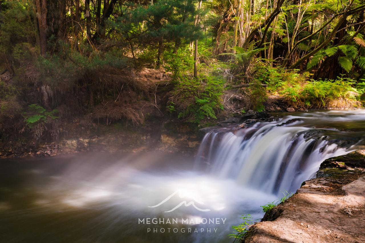 Kerosene Creek Waterfall sunrays