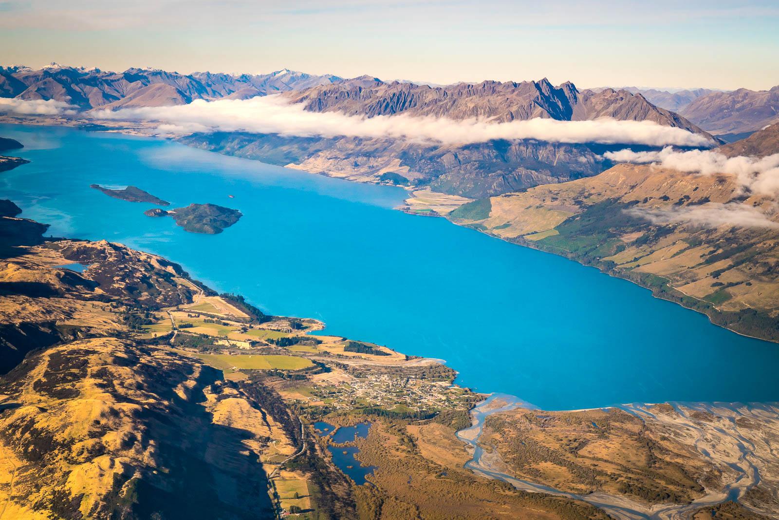 Glenorchy Aerial view over Lake Wakatipu