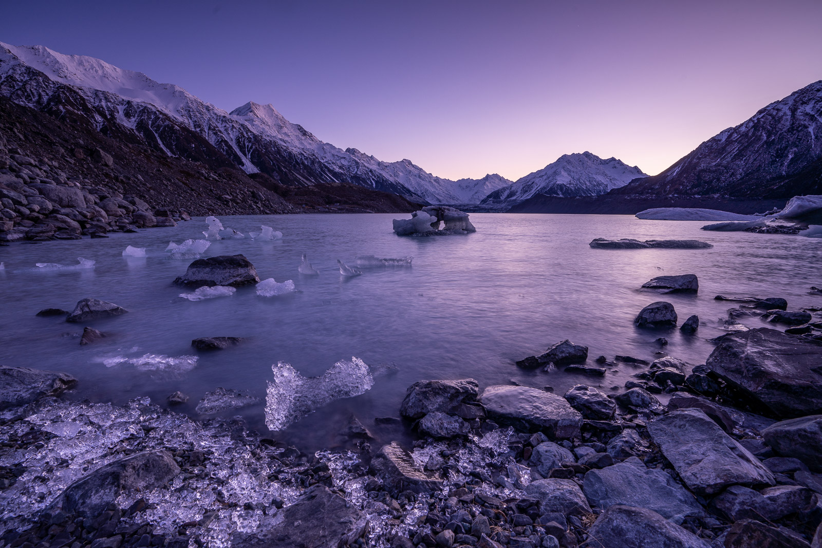Tasman Lake Ice Sunrise