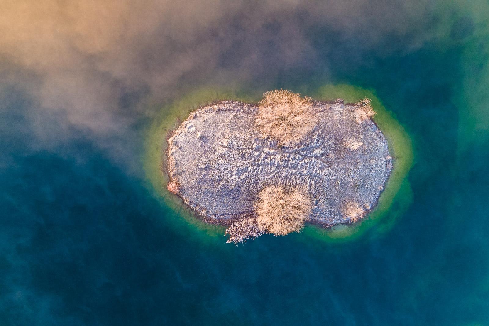 Aerial Loch Cameron Frost Fog Island