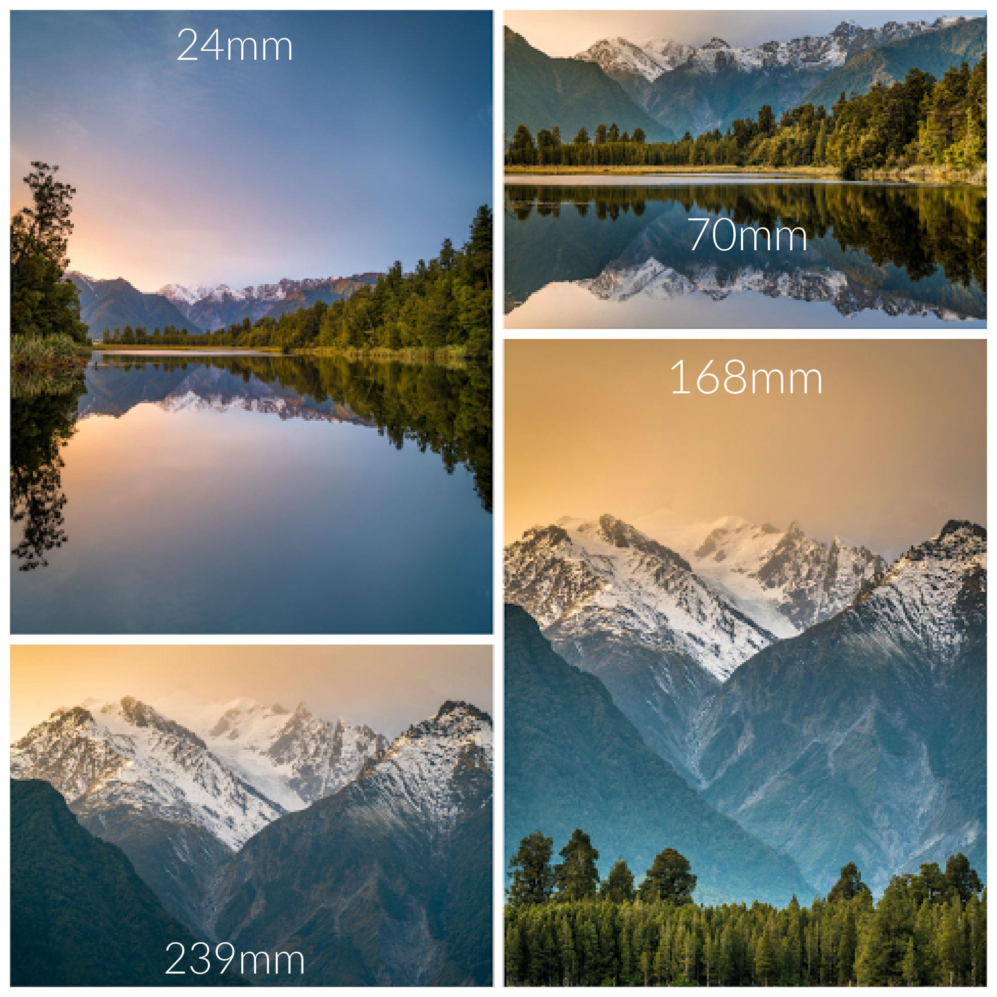 Lake Matheson focal lengths