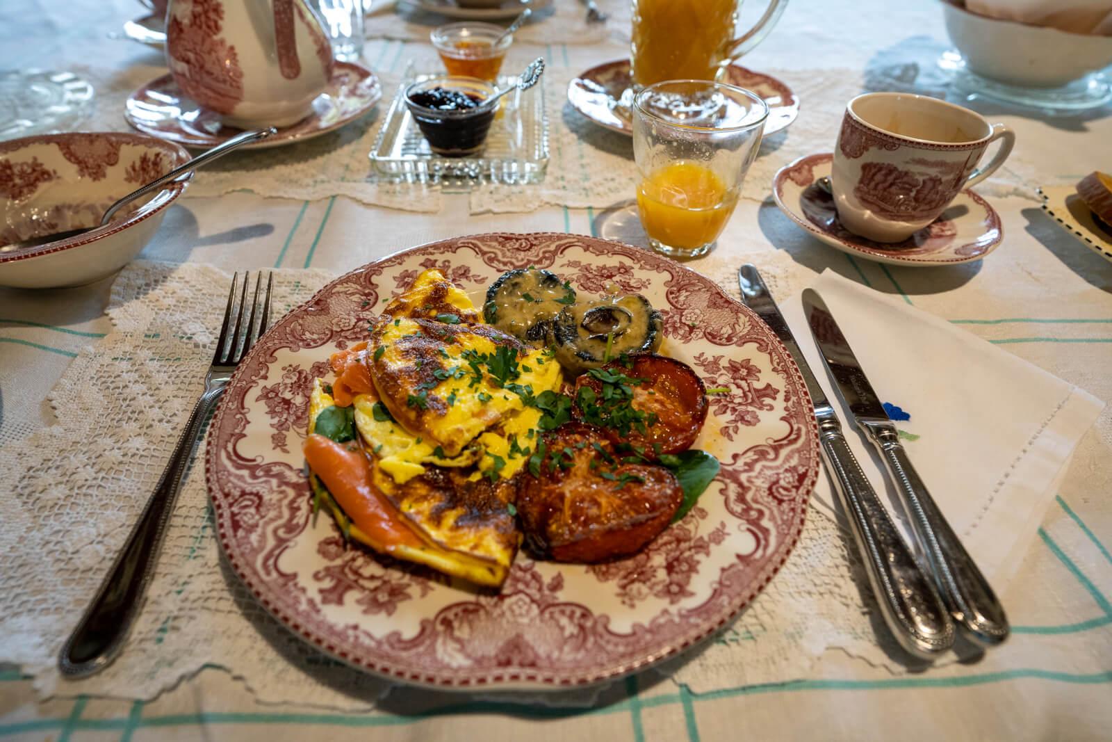 Akaroa Salmon Omelette Blythcliffe Breakfast