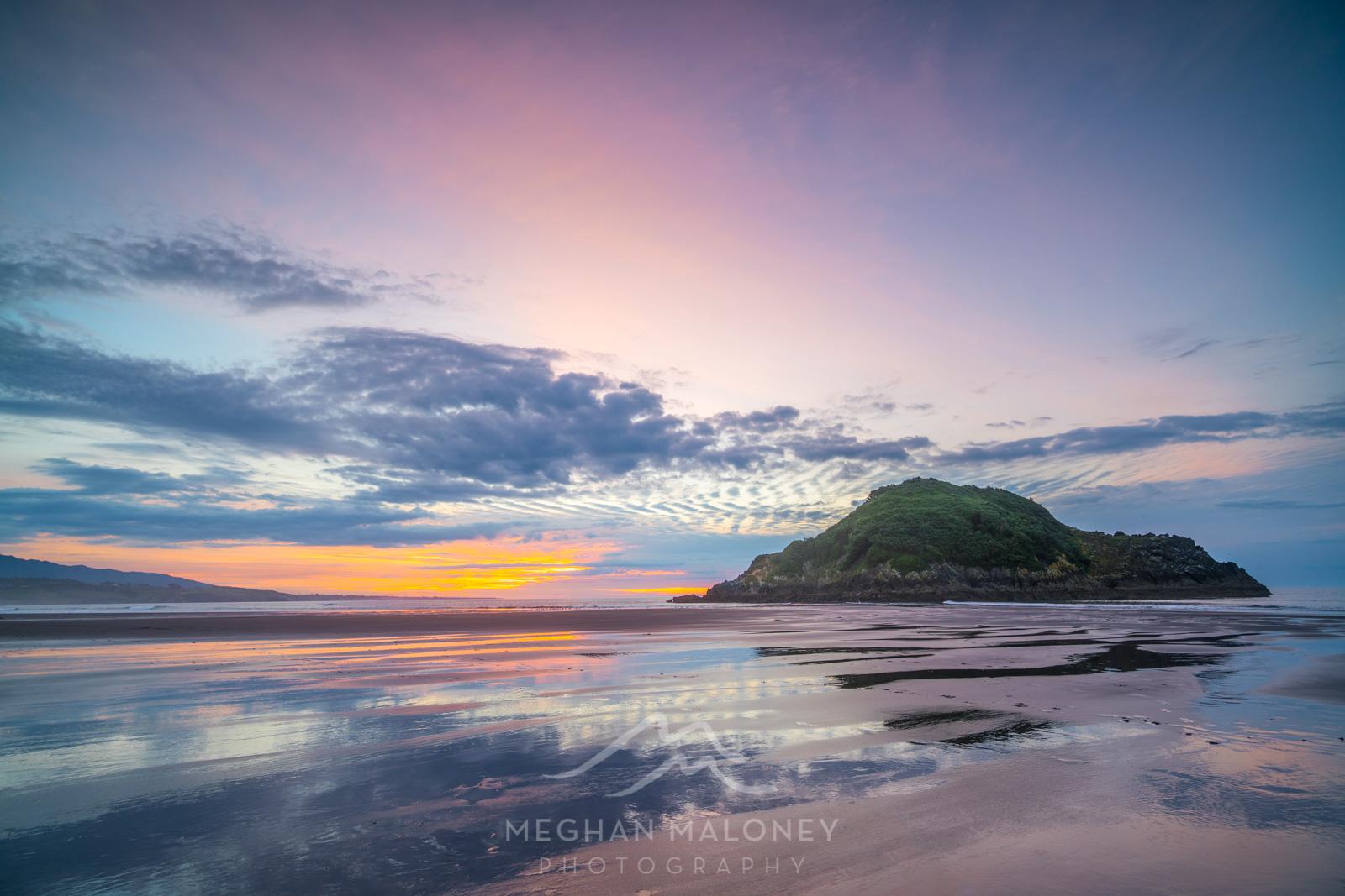 Pink Sunset Back Beach Taranaki
