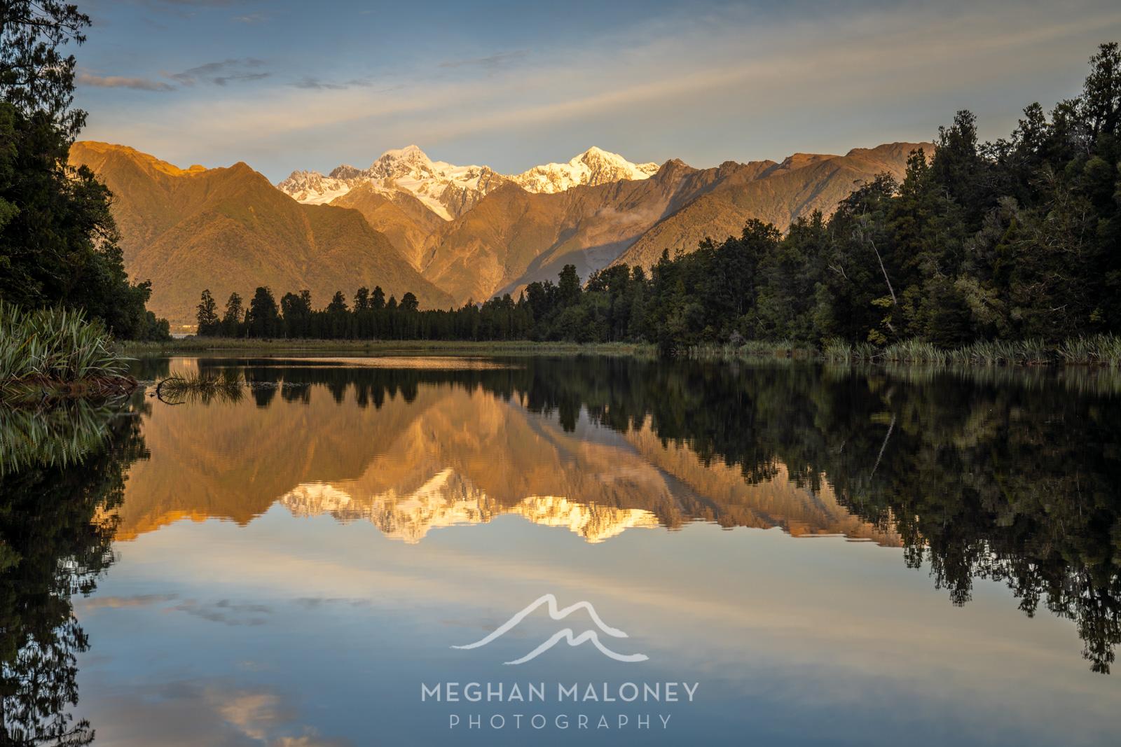 Lake Matheson Orange Mountain Sunset