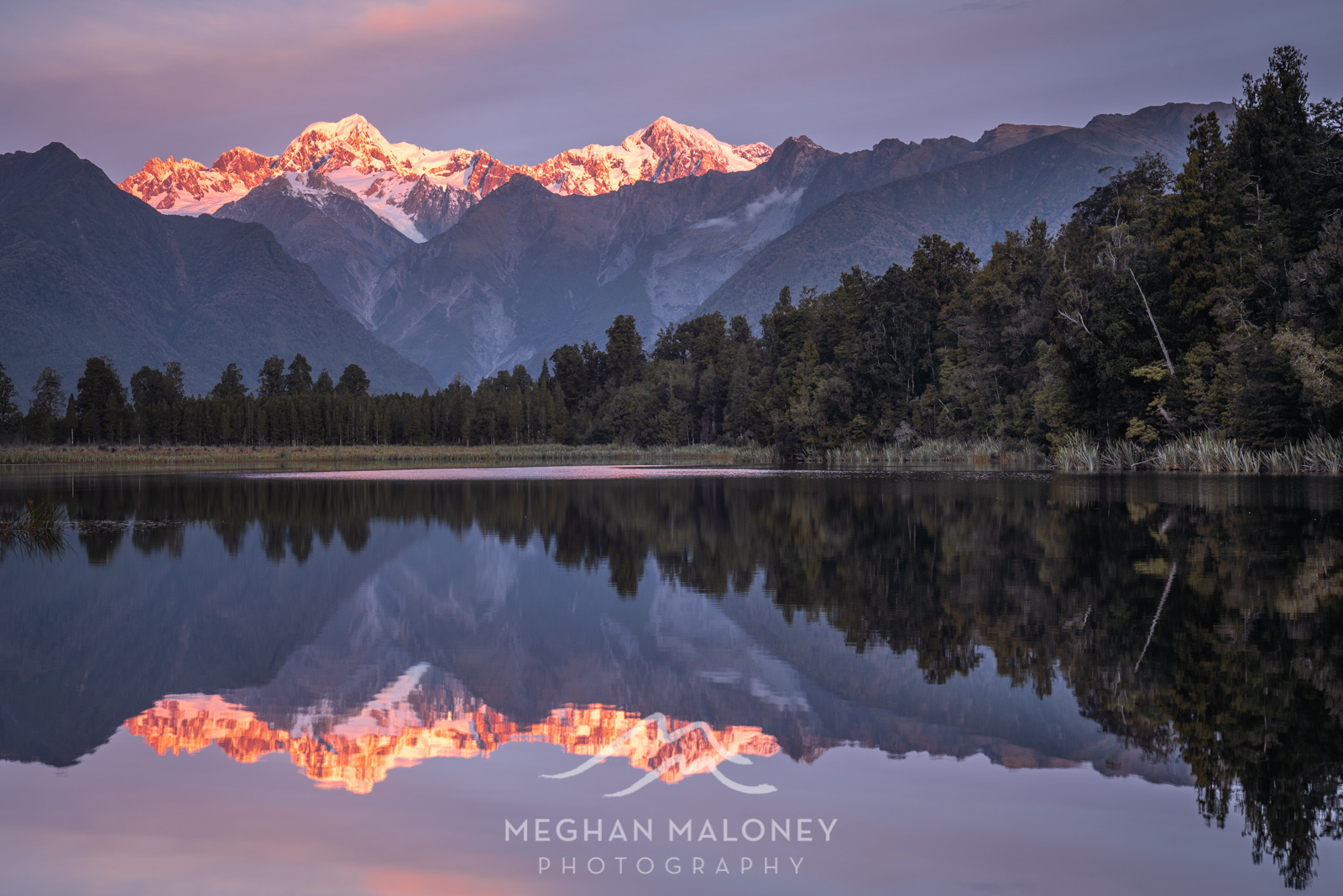 Lake Matheson Alpenglow Sunset
