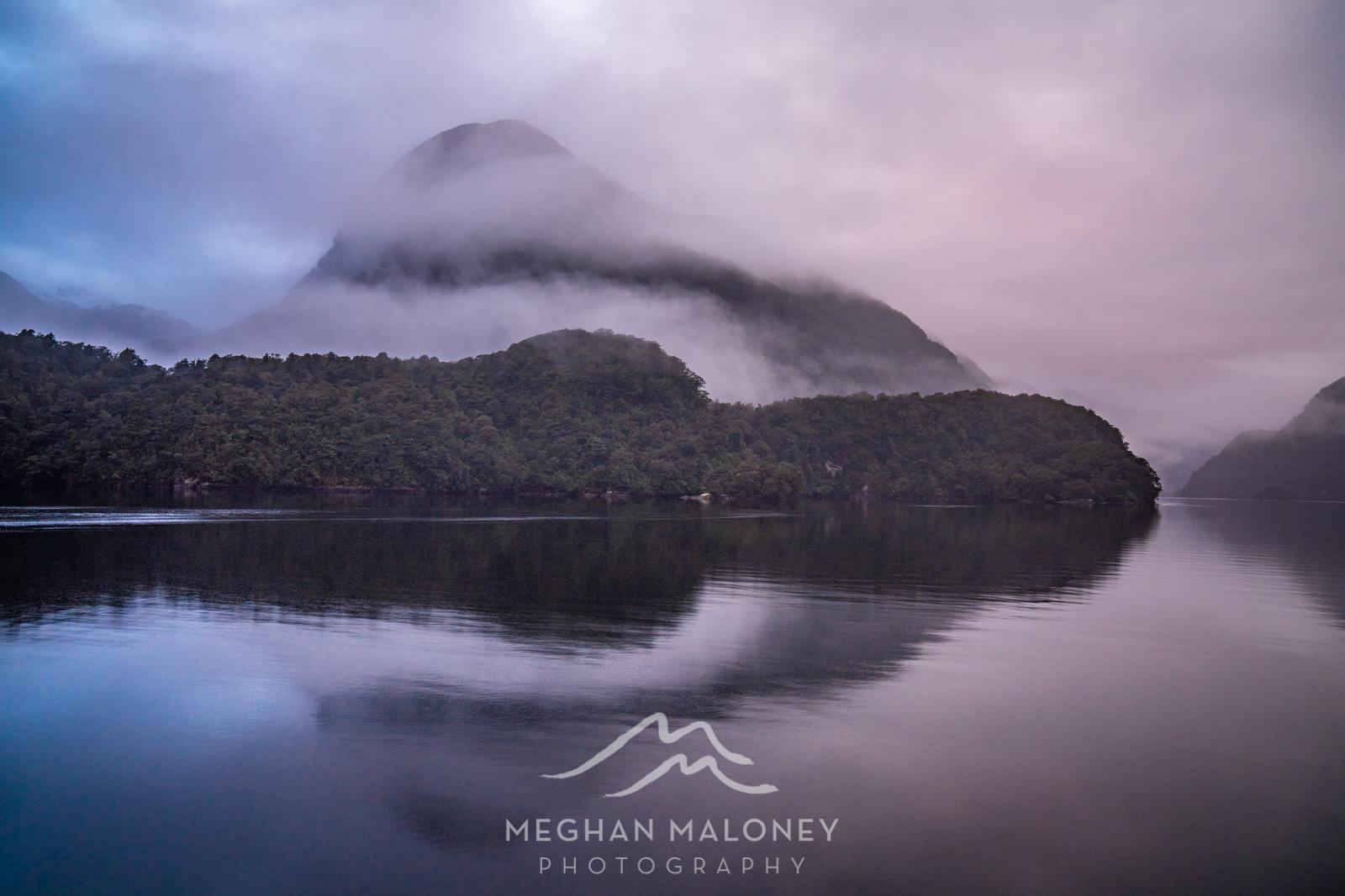 Dawn hues mist doubtful sound