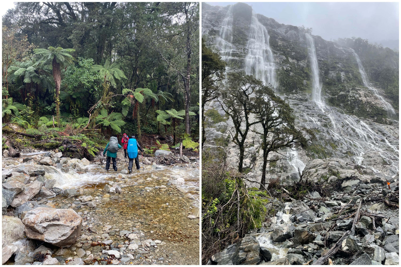 river crossings waterfalls milford track