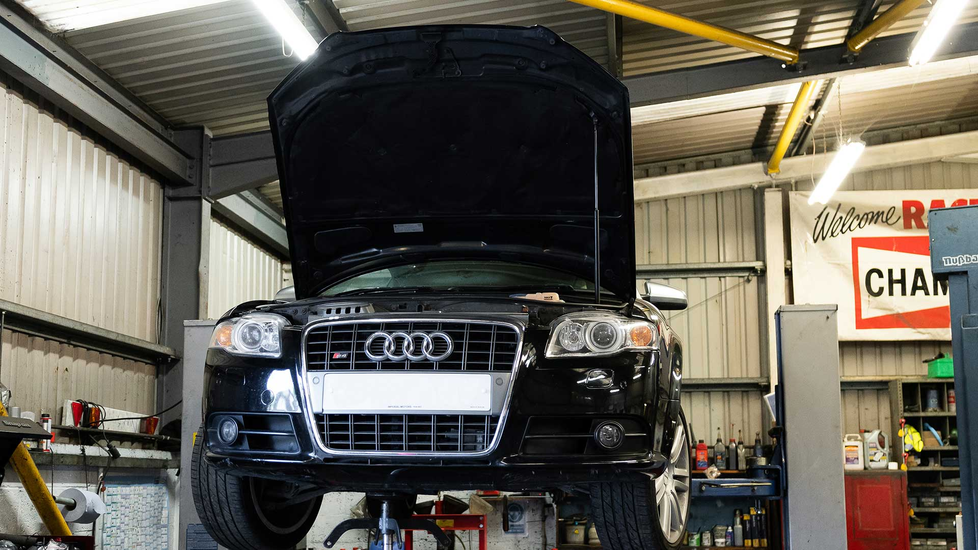 Photo of an audi car on the ramp