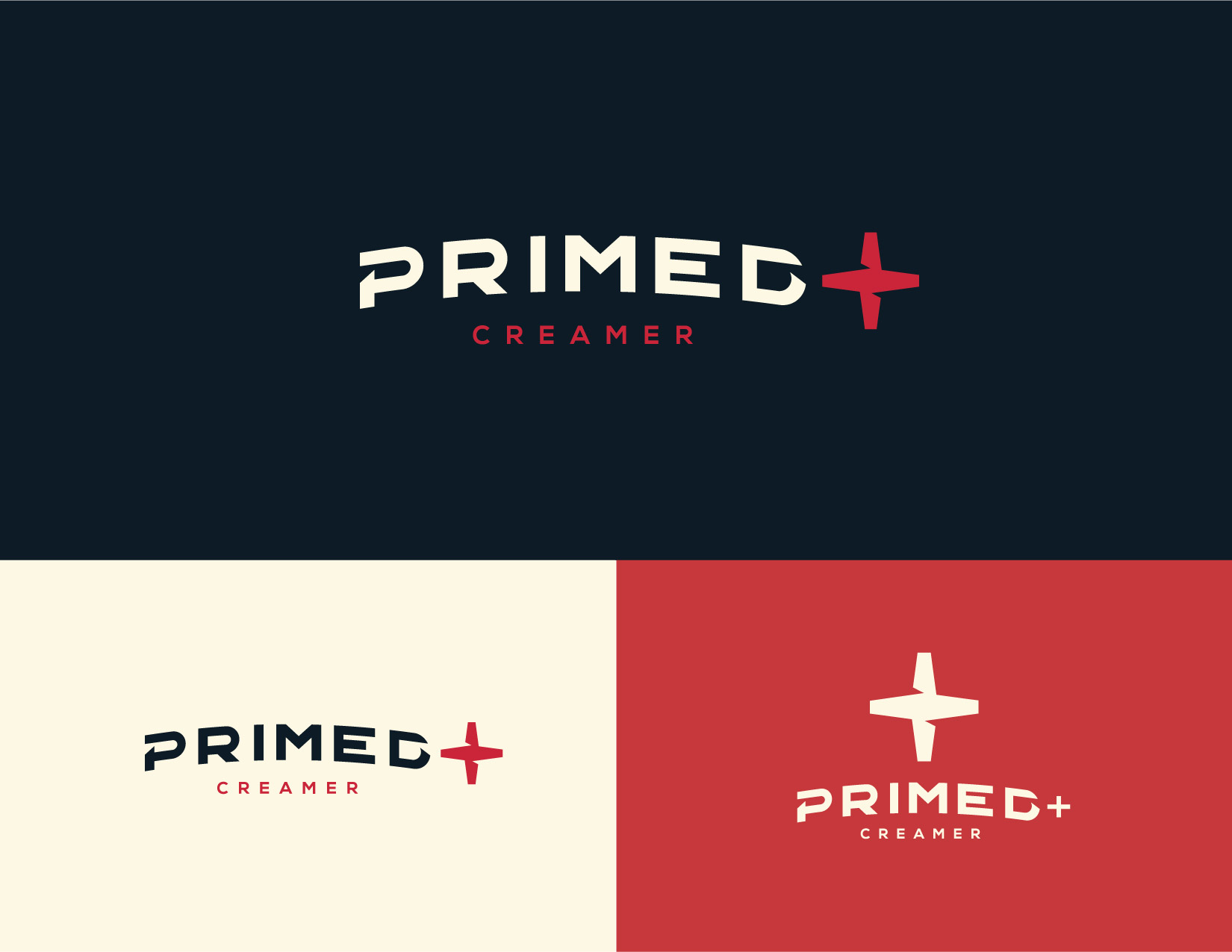 Logo design and branding for PRIMED+ protein coffee creamer. James Cannella Marketing, Design, and Artificial Intelligence Consulting Services