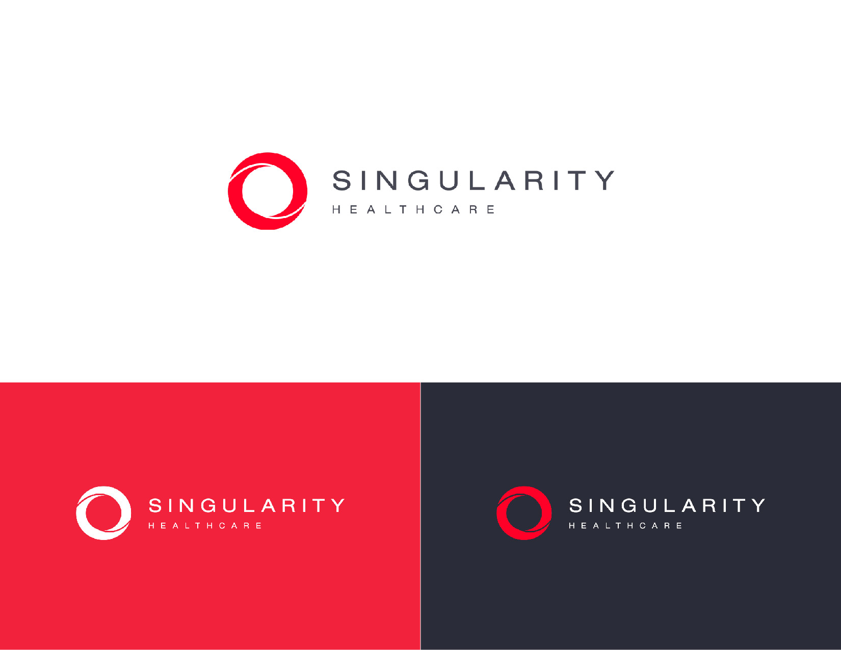 Logo design and branding for Singularity Healthcare, an end-to-end AI marketing platform. James Cannella Marketing, Design, and Artificial Intelligence Consulting Services