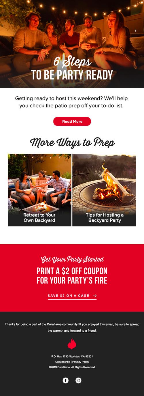 Duraflame Firelogs Newsletter Design