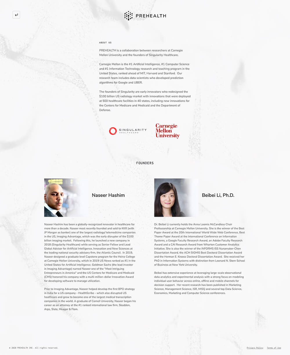 Website Design for Prehealth Artificial Intelligence Hospitalization Risk Prediction Using Lifestyle Data Carnegie Mellon University Heinz College School for AI