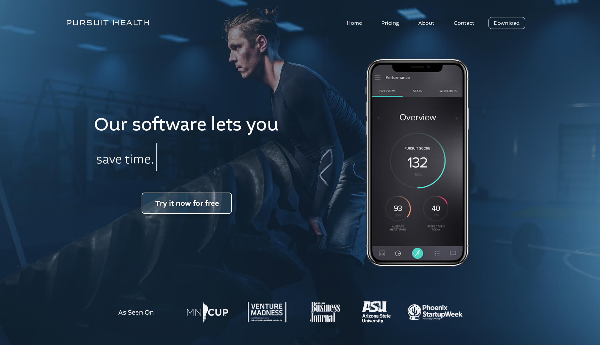 Landing page design - AI-powered fitness application for personal trainers - Pursuit Health tech startup