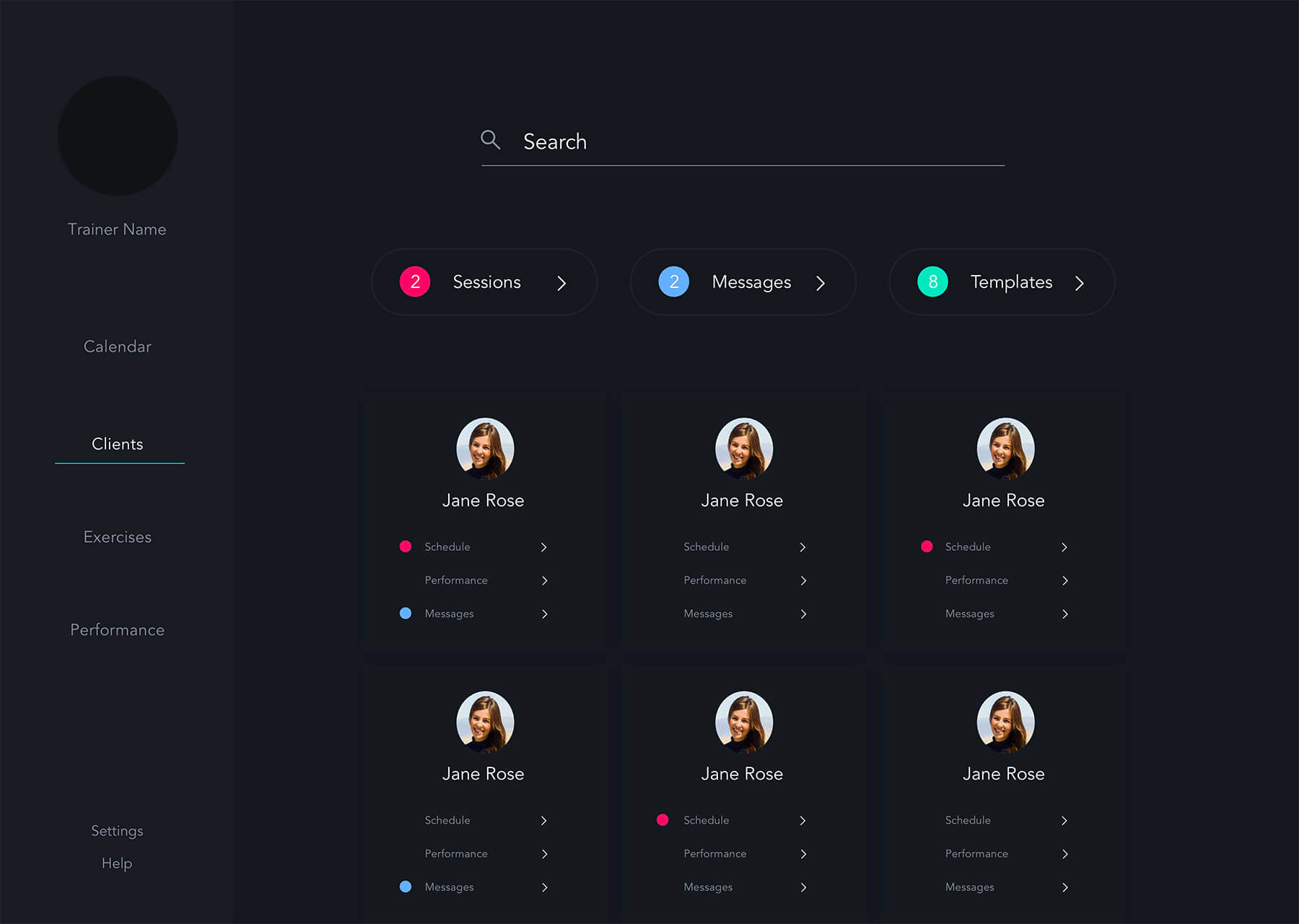 Web app UI UX design - AI-powered fitness application for personal trainers - Pursuit Health tech startup