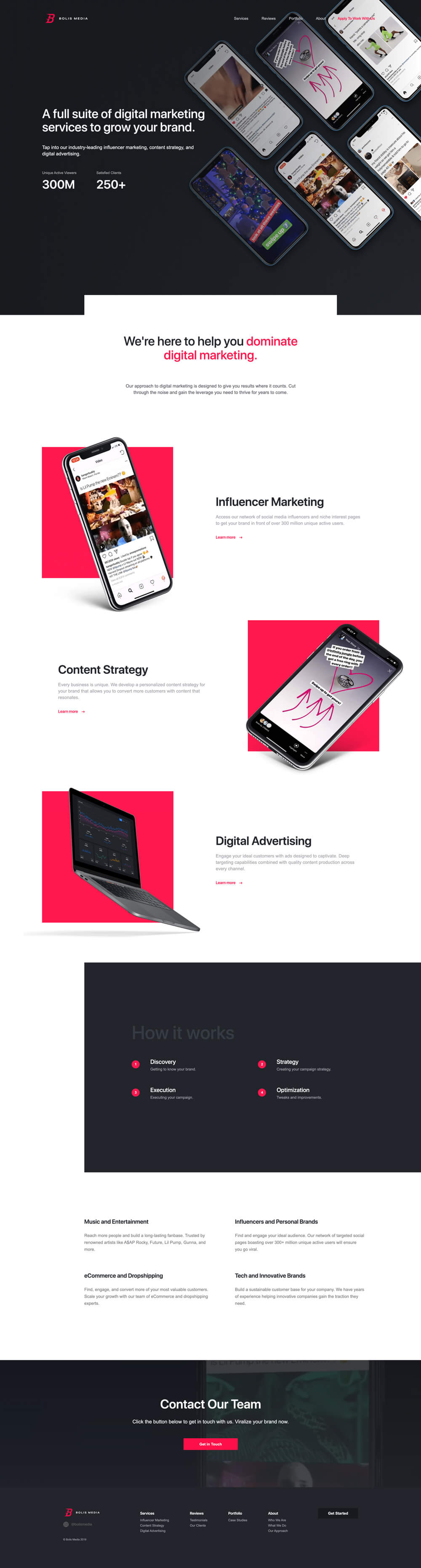 Website design for Bolis Media - digital advertising agency specializing in influencer marketing and social media ad campaigns for artists like Lil Pump Gunna and TikTok