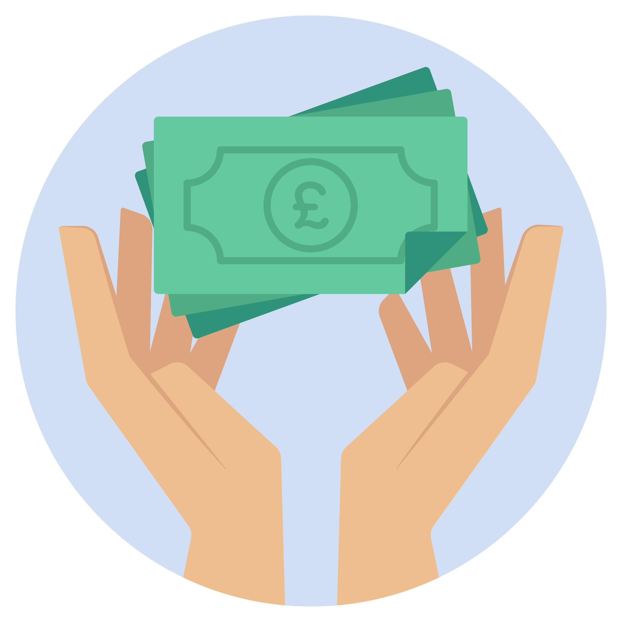Cash notes held between two hands.