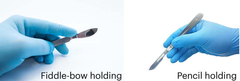 Scalpel grips: Fiddle-bow holding and pencil holding