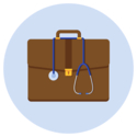 A physician's bag with a stethoscope hung around it.