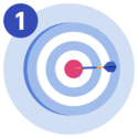 A UCAT target board with a dart in the bullseye.