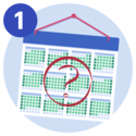 A 2 month Medify UCAT wall calendar with a big red question mark stamped over it.