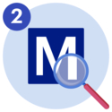 Medify logo with a magnifying glass over the bottom right corner of it.