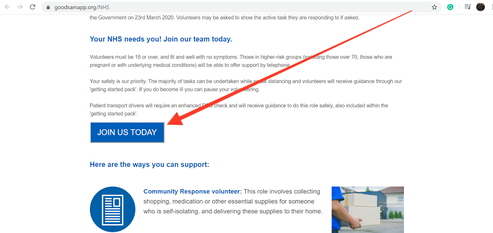 Screenshot of the NHS COVID-19 volunteering page showing the join us today button.