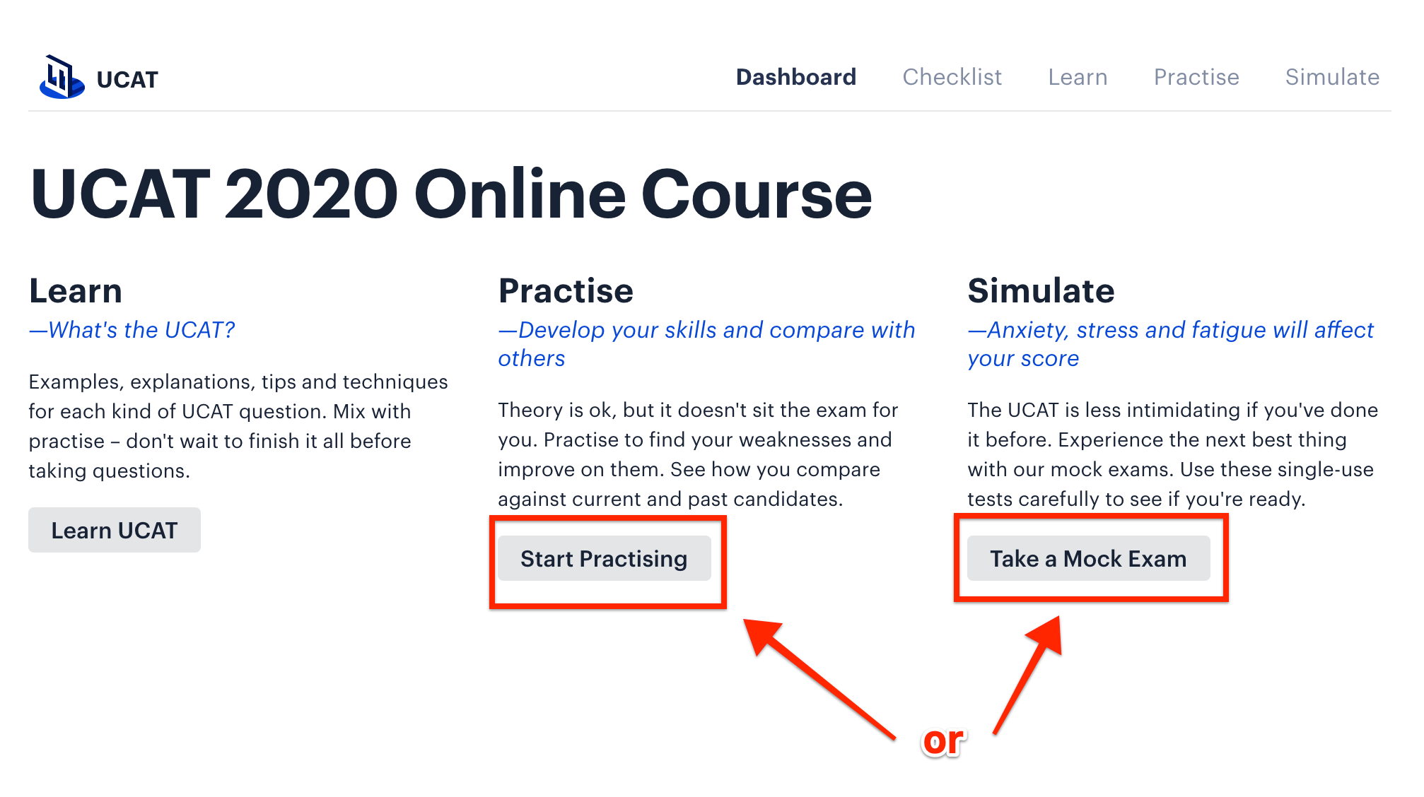 A screenshot showing Medify's online UCAT course webpage, with red arrows pointing towards the 'Start Practising' and 'Take a Mock Exam' button