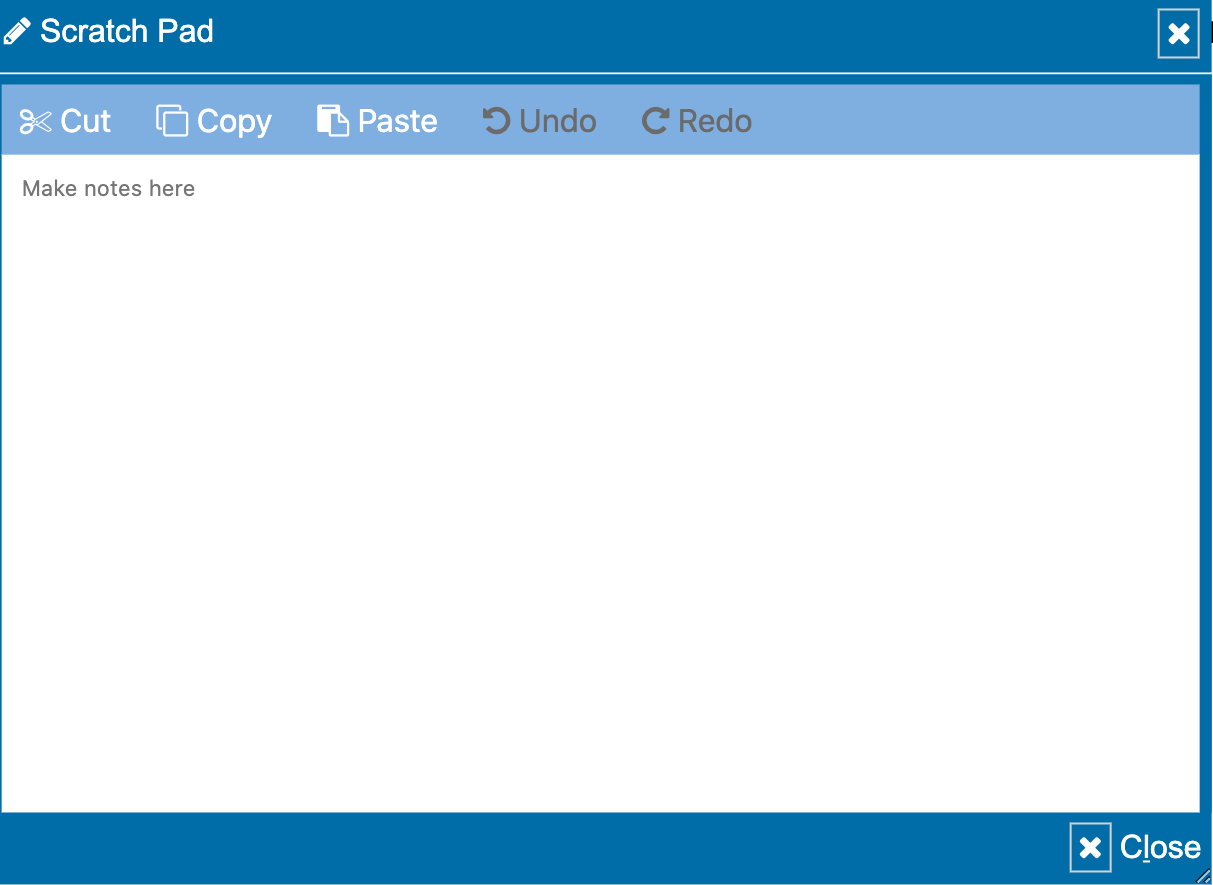 A screenshot of the new scratch pad tool for the UCAT