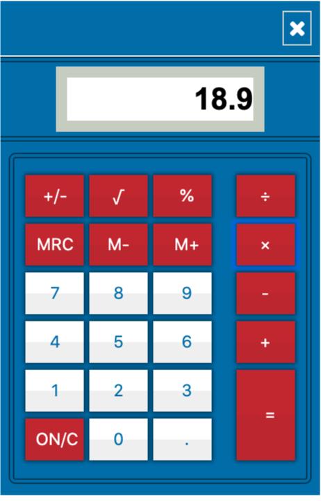 UCAT calculator pop up window