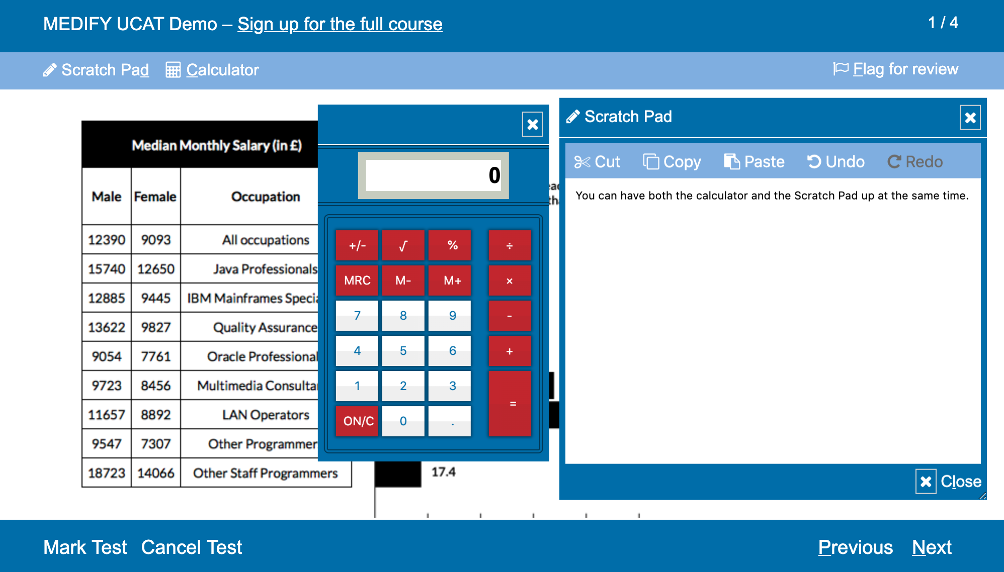 UCAT scratch pad and calculator displayed on one screen