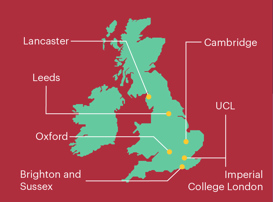 A map showing the locations of BMAT medical schools