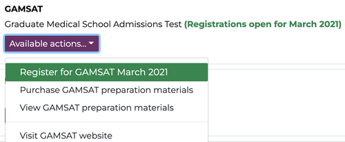 A screenshot of GAMSAT registration page