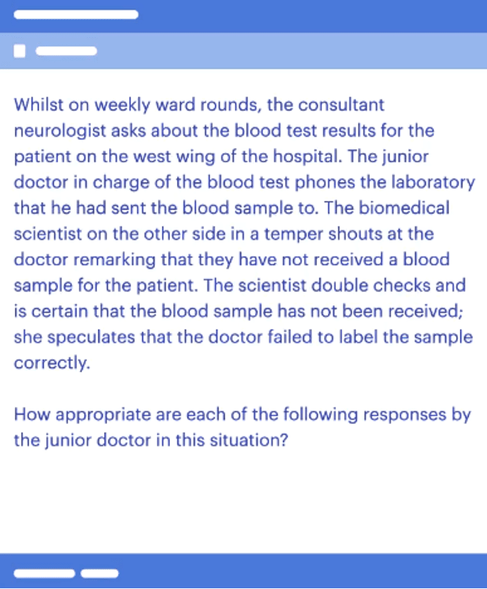 An example question on empathy for the UCAT SJT section
