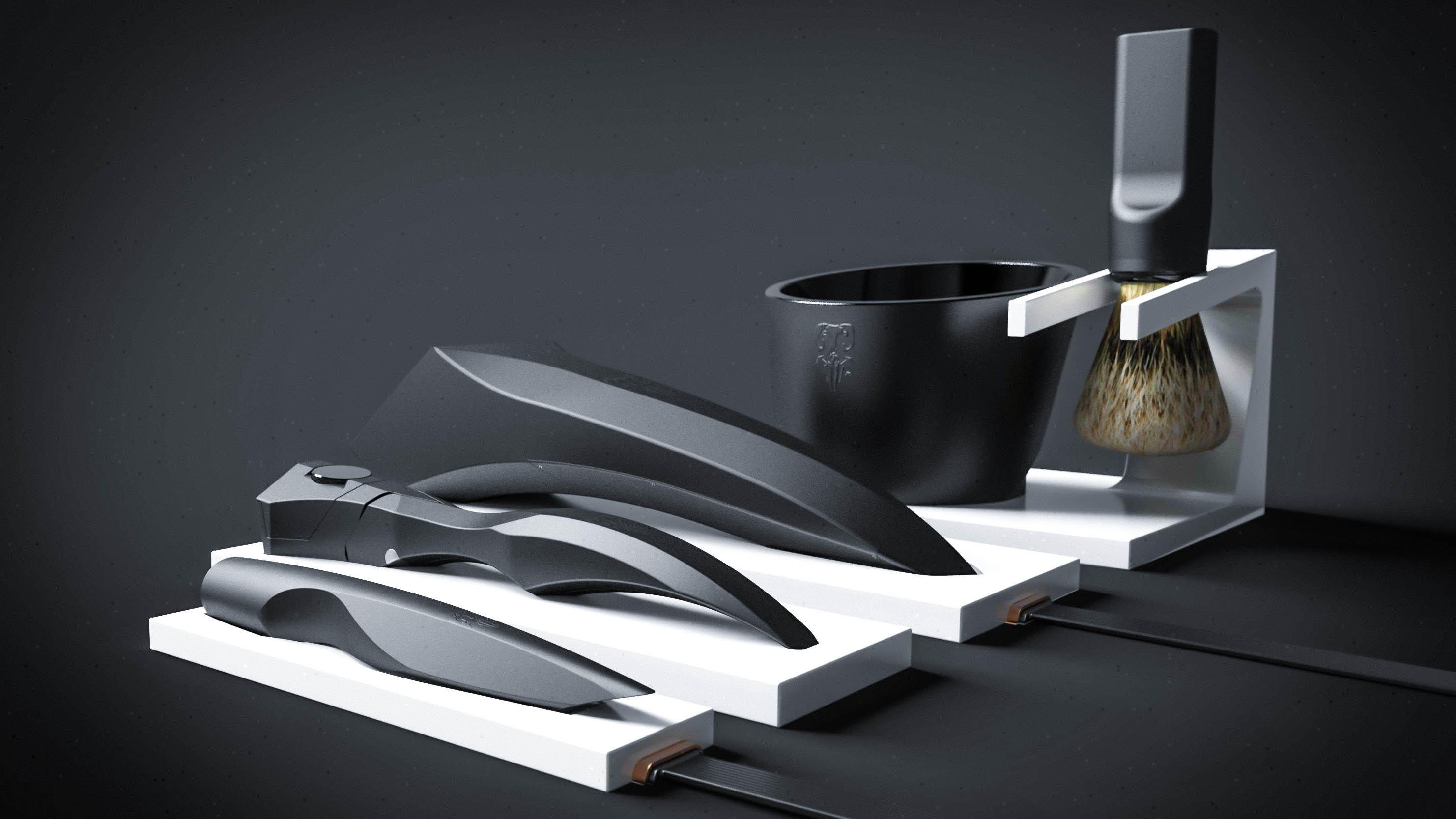 The products are designed to be displayed on countertops, and their bases help to unify the series.