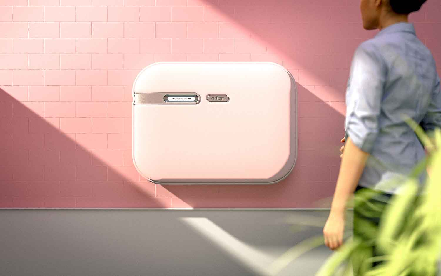 To open Eden, simply wave your hand in front of the sensor; this assists parents with full arms, as well as reduces the spread of bacteria.