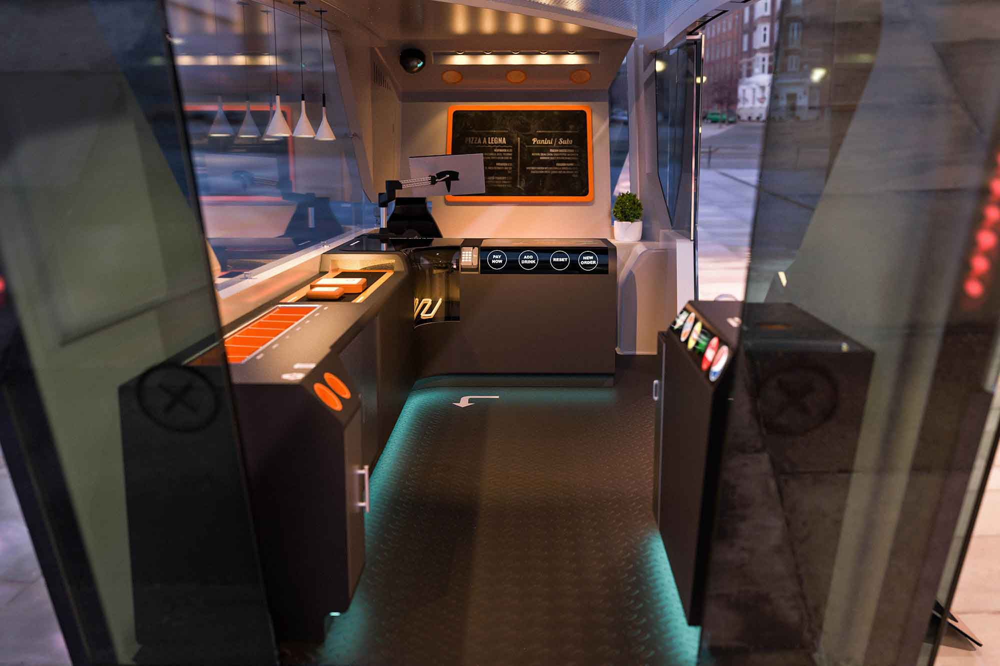 Removing industrial kitchens for under-counter food-preparing setups could open up the floor space for users. Imagine a café that pulls up to you on the street.
