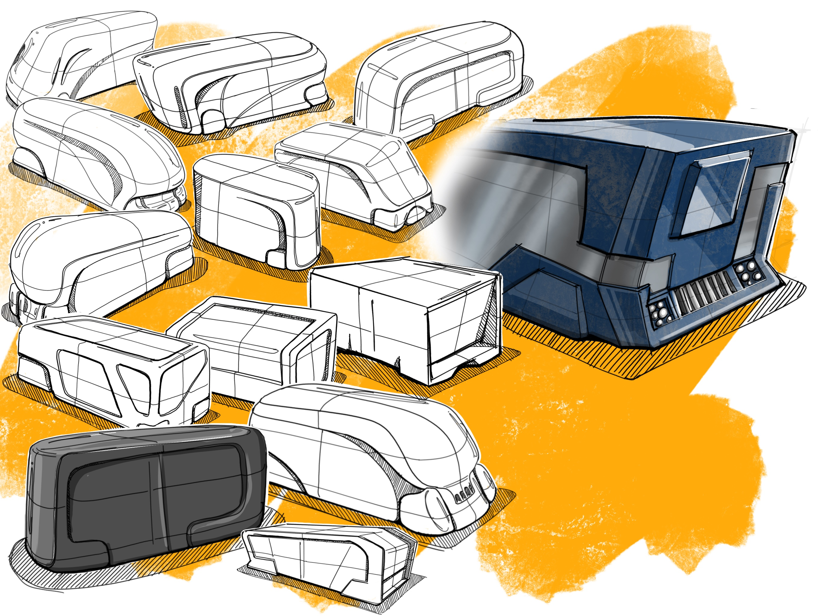 Some of my sketches that related to the final concept for the vehicle. Our aesthetics were inspired by future-brutalism.