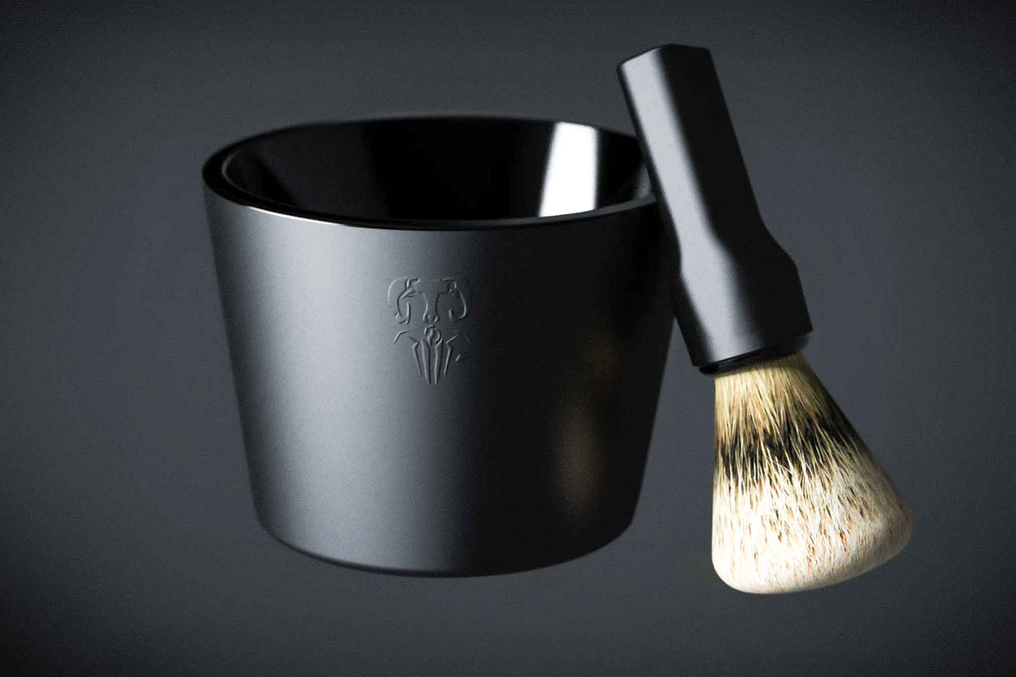 The shaving set has no extant sharp edges, but uses a CMF contrast to accomplish the same affect.