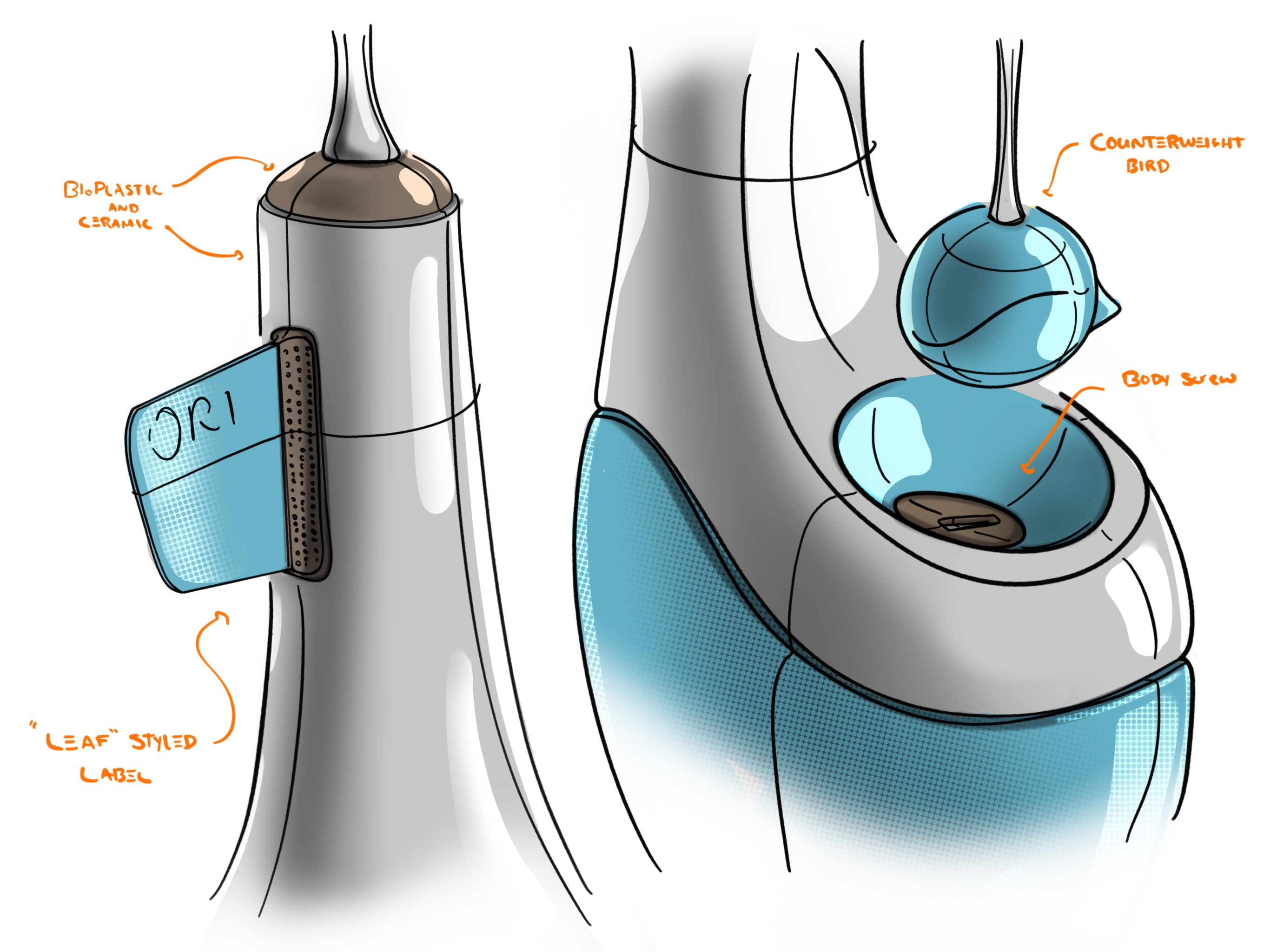 End phase sketches that show the finer details of the product.