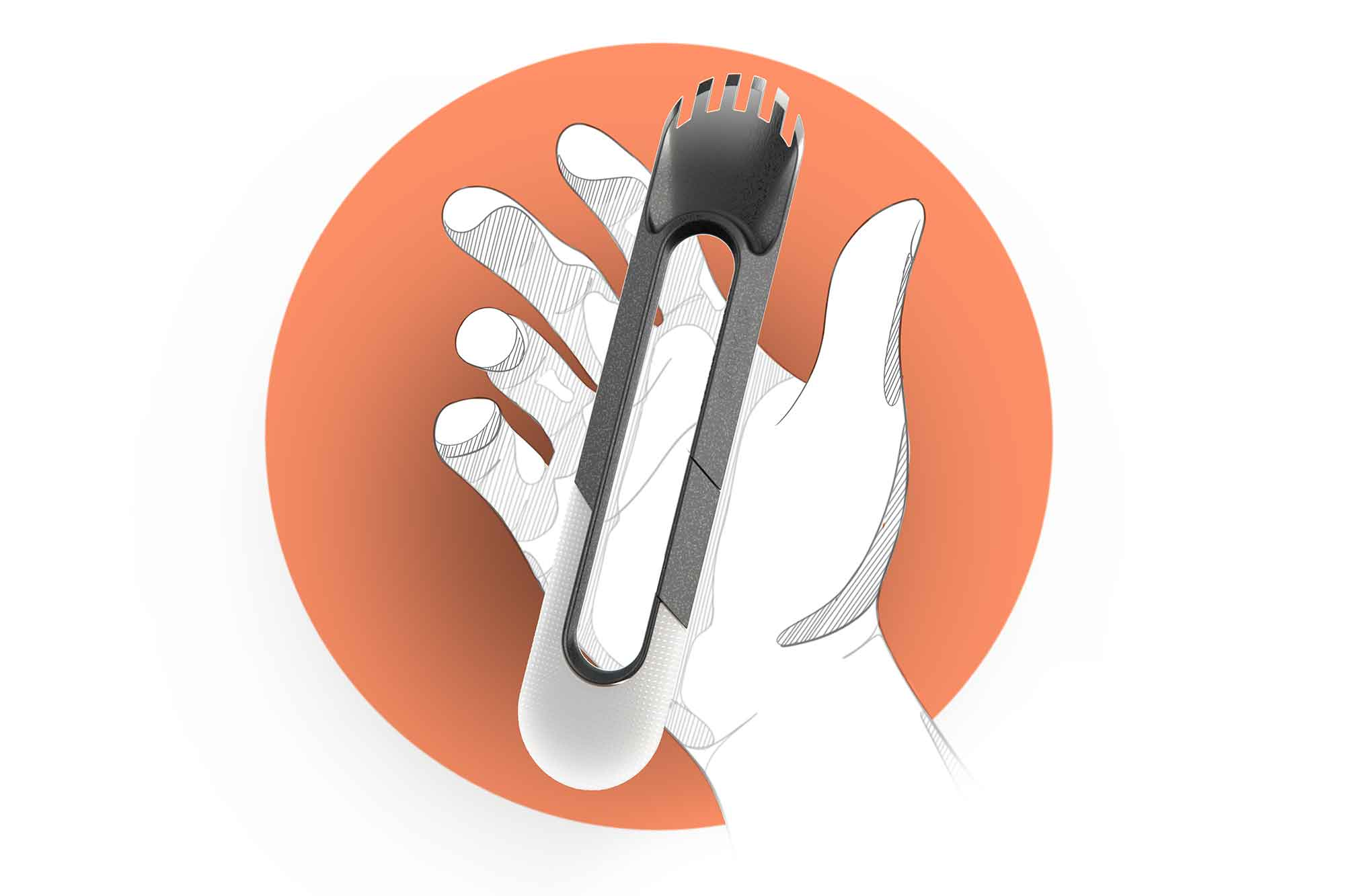 Designed for only the most strenuous meals, Sporklip combines a spatula, carabiner, bottle opener, knife, and spork all in one.