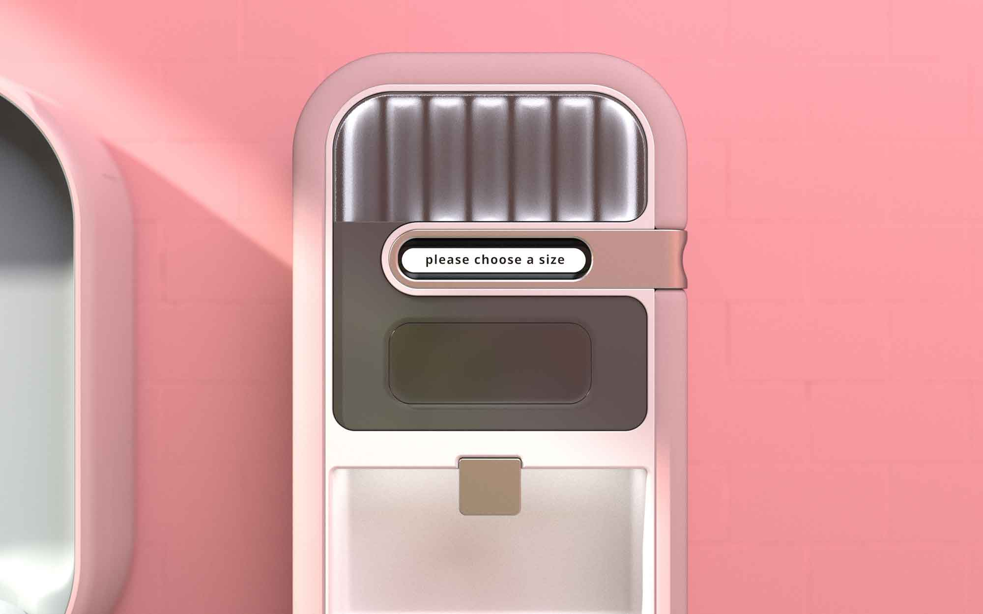 Dispense diaper by age group or weight, use the hand sanitizer dispenser below, or use the garbage bin in the base.