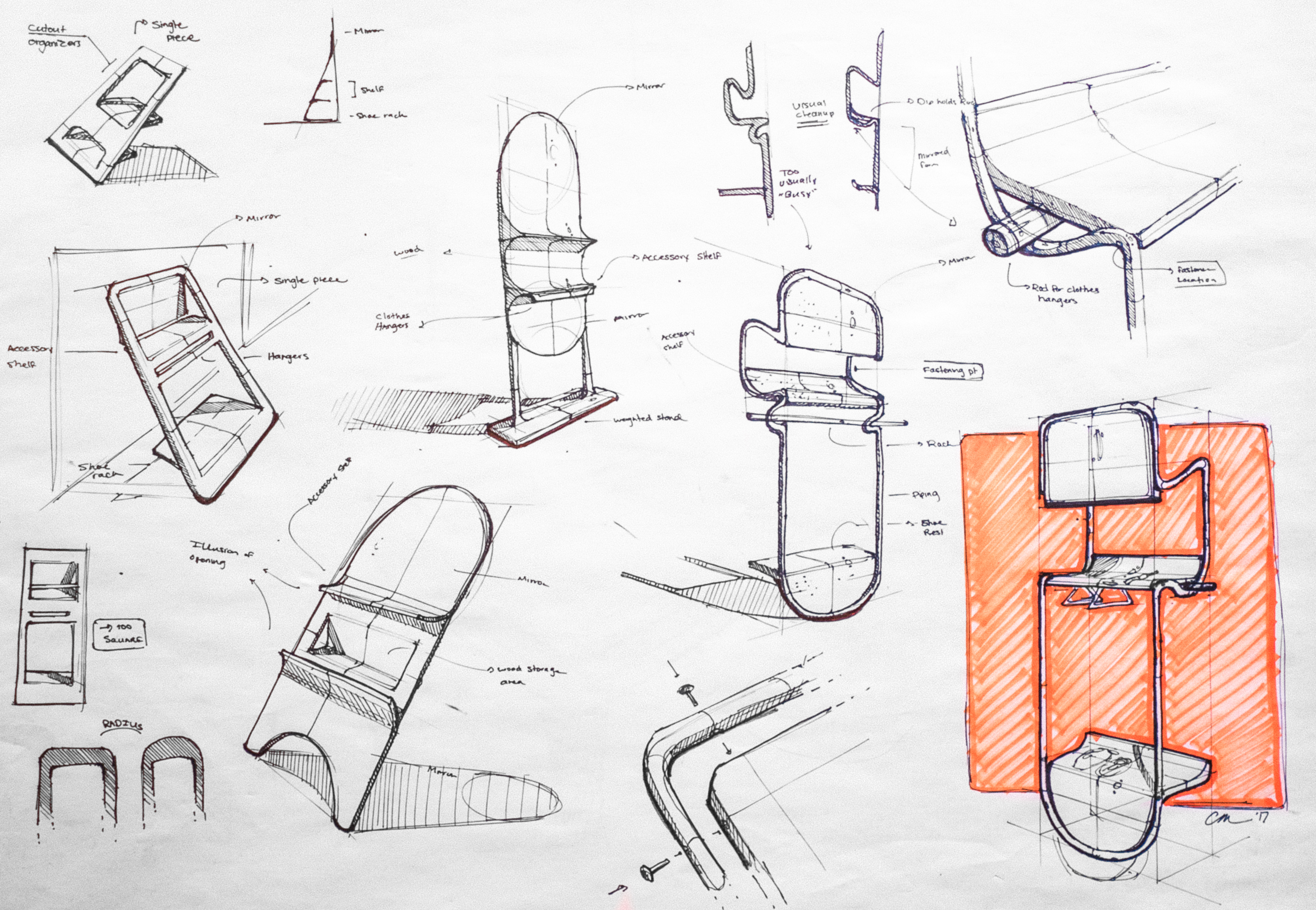 The ideation for Kempt was completed in a single page of sketches, and the entire design was completed in under a day of work. This was a speed exercise.