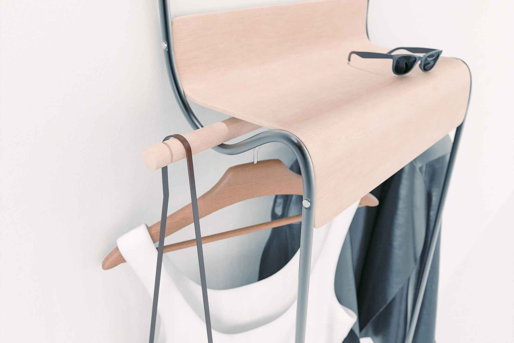 The hanger rod extends past the edges of the body, allowing the user to hang bags on the sides of the organizer.