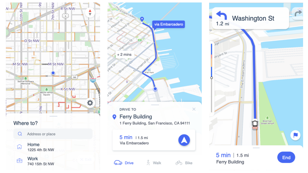 Mapbox Navigation design mocks in progress