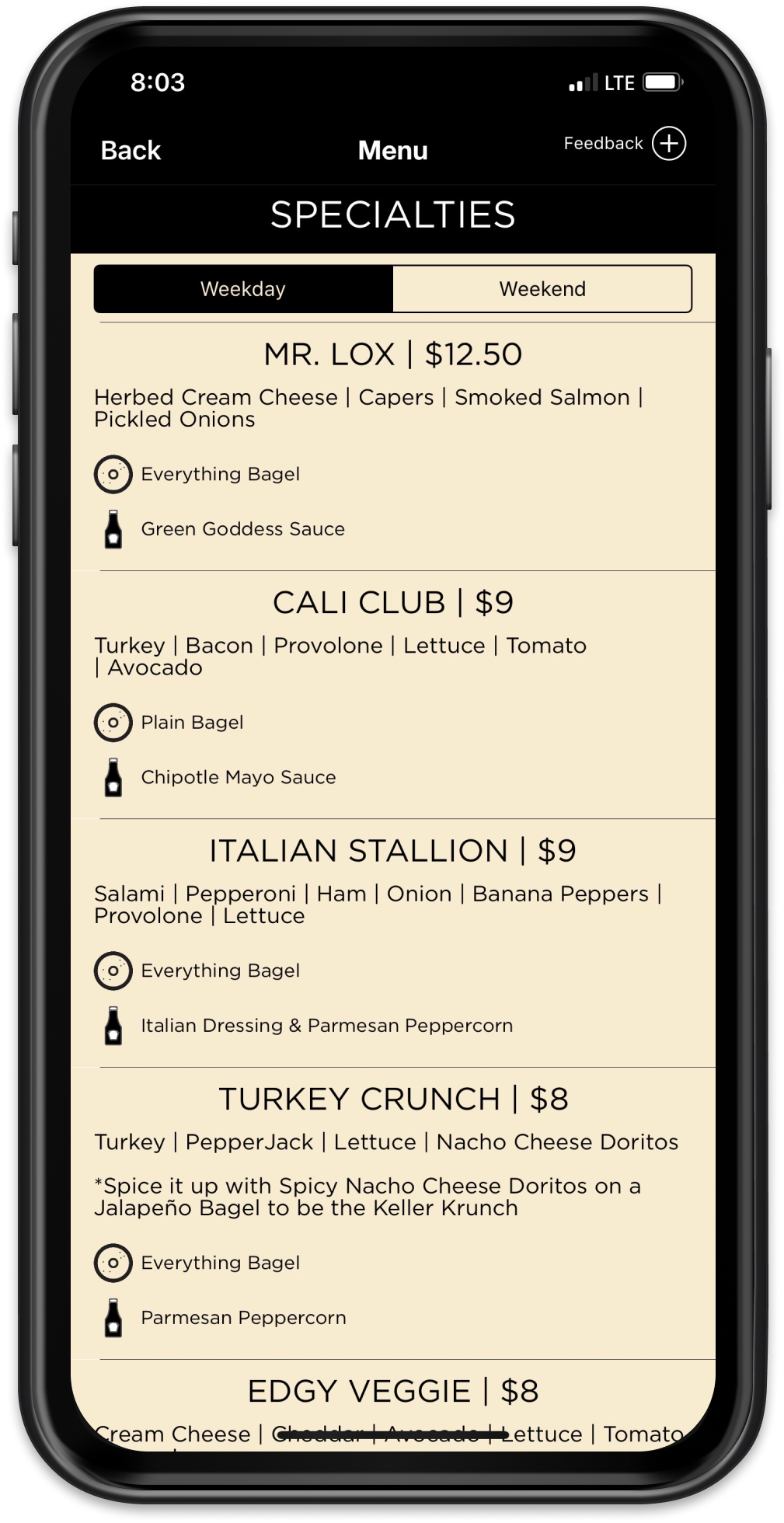 Nate's Steamed Bagels Mobile App Mockup